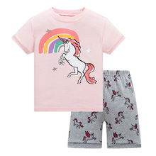 Lovely Summer Animal Printed Cotton Baby Girl's Pajamas