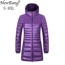 NewBang blouson Long dhiver grande taille femme, chaud à capuche en plumes, Ultra léger, 6XL, 7XL et 8XL