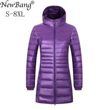 NewBang marka 6XL 7XL 8XL artı boyutu uzun kaban kadın uzun kış ultra hafif şişme mont kadın kapşonlu tüy ceket sıcak tutan kaban