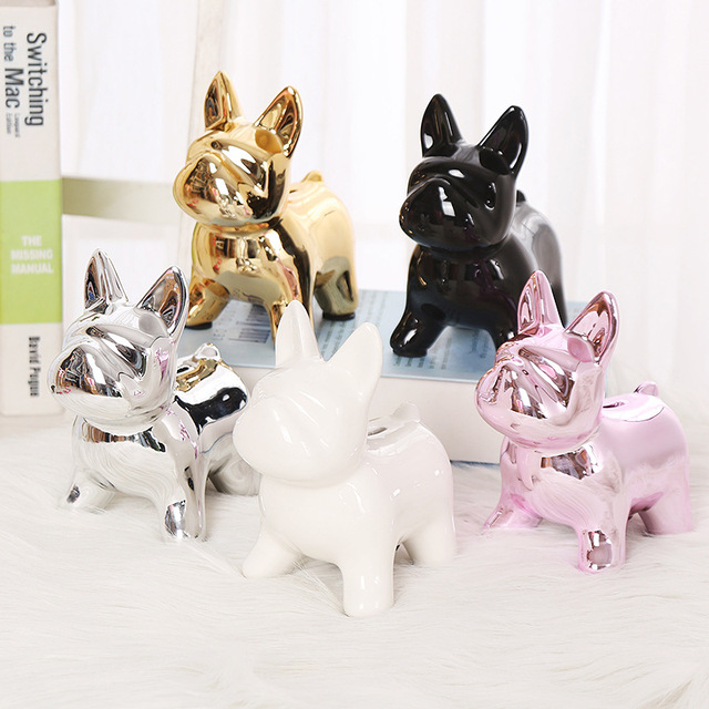 European Ceramic Crafts Bulldog Piggy Bank Home Decor Cute Piggy Bank Ornaments Creative Bulldog Money Box 1