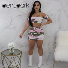 BerryPark 2019 New Summer Pink Camo 2 PCS Set Sweet Streetwear Women Sexy  Hollow Out Club Dress Camouflage Cute Party Outfits ec7f7d077