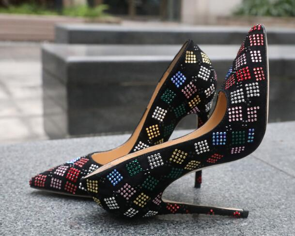 Moraima Snc Black Suede Pointed Toe High Heel Shoes Colorful Crystal Embellished Shallow Stiletto Heels Sexy Office Lady Shoes Moraima Snc Black Suede Pointed Toe High Heel Shoes Colorful Crystal Embellished Shallow Stiletto Heels Sexy Office Lady Shoes