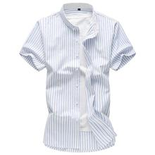 Plus Size 7XL Mens Shirt Short sleeves Stripe Cotton Clothing Slim fit Dress Shirts Blue Navy Pink Summer
