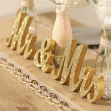 3pcs/set DIY Festival Party Wedding Wooden Signs Home Decor Gold Powder MR & MRS Letters Ornaments Supplies Party H1