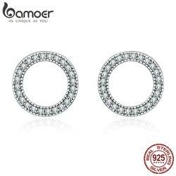 BAMOER, хит продаж, натуральная 925 пробы, серебряные светящиеся круглые серьги-гвоздики для женщин, ювелирные изделия из стерлингового серебра,...