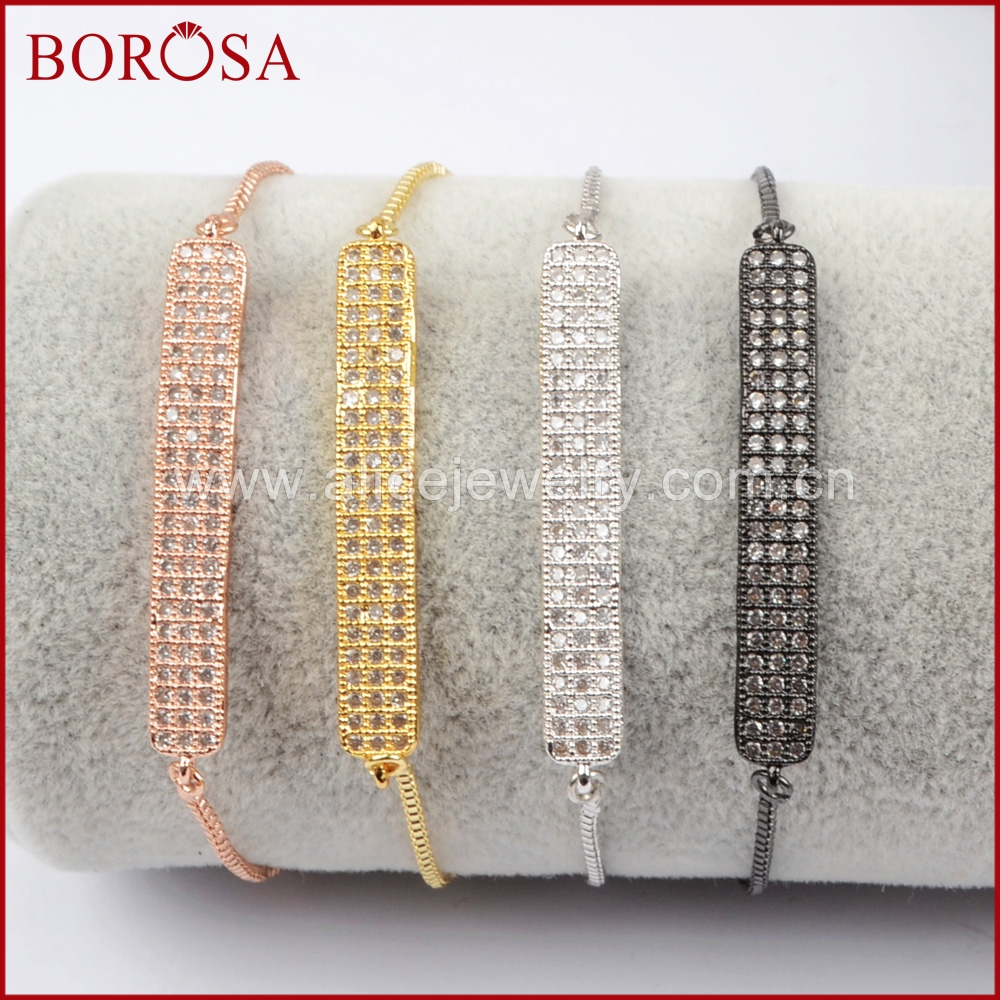 BOROSA New Fashion CZ Micro Pave Cubic Zirconia Rectangle Bar Spacer Drusy Connector 10 Adjustable Box