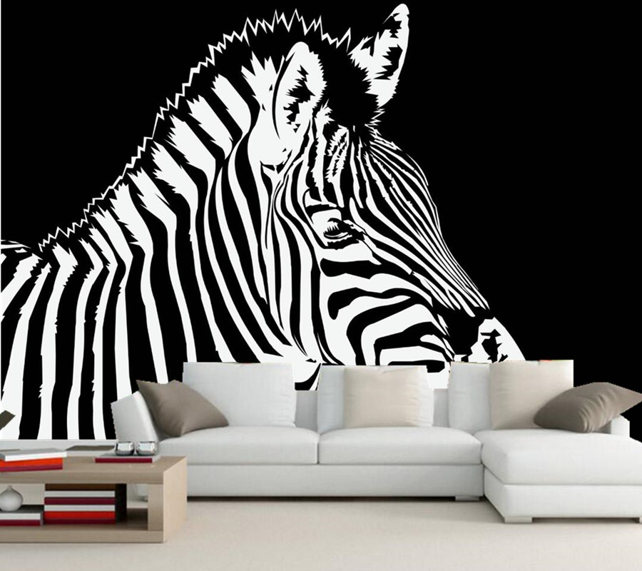 Custom graphics zebras painting art animals 3d embossed for 3d embossed wallpaper