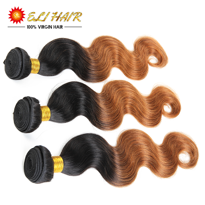 Eli Queen Hair Brazilian Body Wave 8A Grade Virgin Unprocessed Human Hair Two Tone 3 Bundles Blonde Color Ombre Hair Extensions