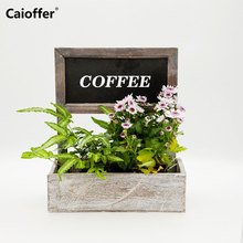 Caioffer Wooden Flower Pots Decorative Small Planter Washed White Flowerpot With Message Blackboard For Outdoor Culture Indoor