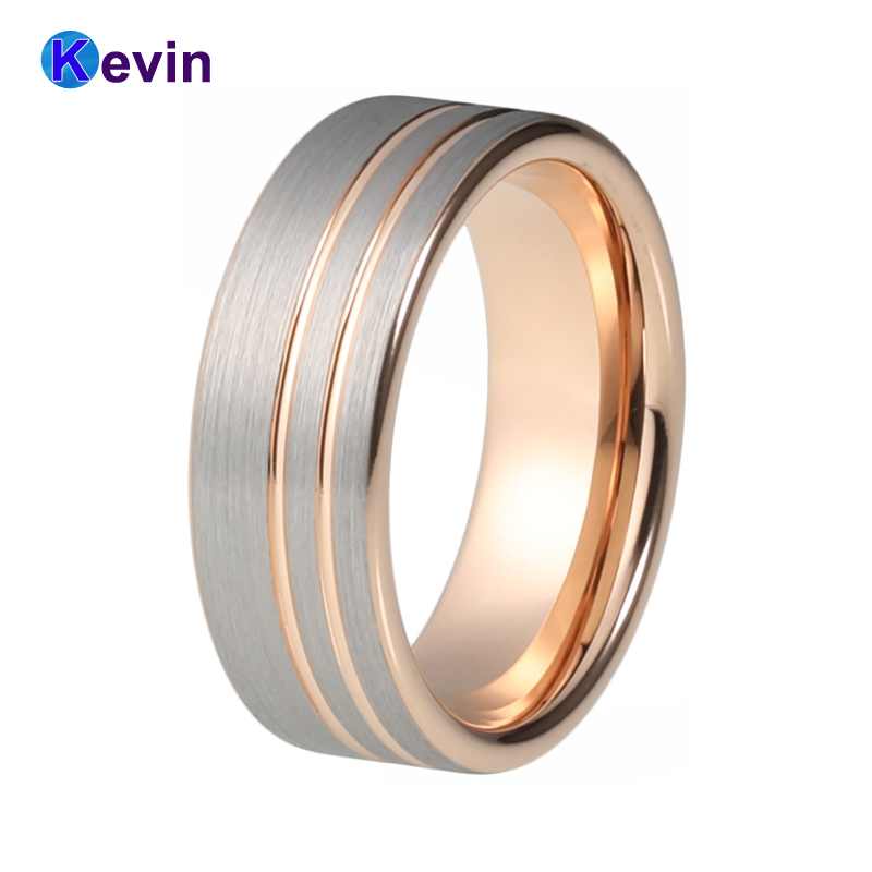 Womens Mens Rose Gold Rings Tungsten Carbide Ring With Grooves And Flat Band tungsten carbide steel ring with wire drawing application