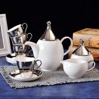 Европейский стиль посеребренные кофе чашки наборы роскошные бытовые керамики Британский день набор для чая кофе Подарочная коробка Беспла