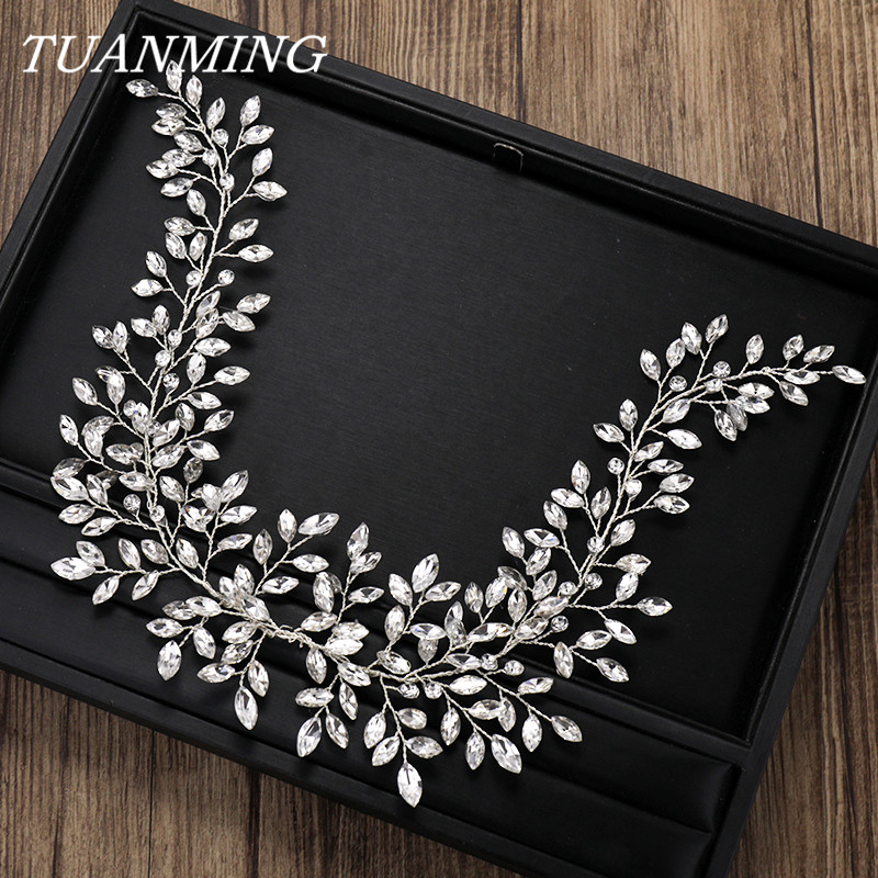 Luxurious Rhinestone Crystal Headband Bride Hair Accessories Wedding Crystal Hairbands Headbands Silver Crystal Bridal Hair Band 15pcs lot stretch elastic tutu headbands diy headband hair accessories 1 5 inch crochet headband free shipping 33colors in stock