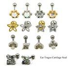 1pc Flower Opal CZ Gem Tragus Cartilage Barbell Top Upper Ear Stud Earrings Fashion Ear Labret Body Piercing Jewelry 16 Gauge