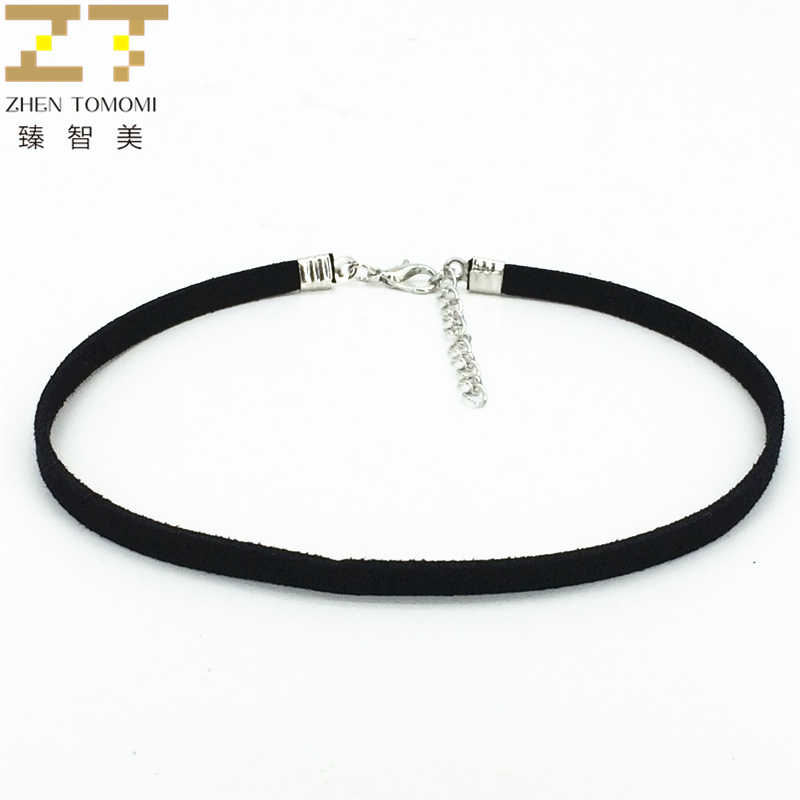 Hot New Fashion Bijoux Pure Black Velvet Leather Collares Anime Maxi Statement Chokers Necklace Accessories Women 2019 Jewelry