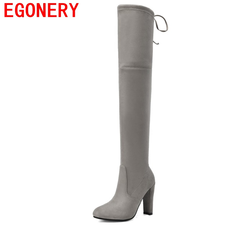 EGONERY woman fashion knee high boots 2017 winter new style Womens Micro Suede Thigh High Boots Block Thick Heel Stretch boots new bottes femmes 2015 calzado mujer autumn winter knee high boots suede womens chunky thick heels sexy fashion winter boots