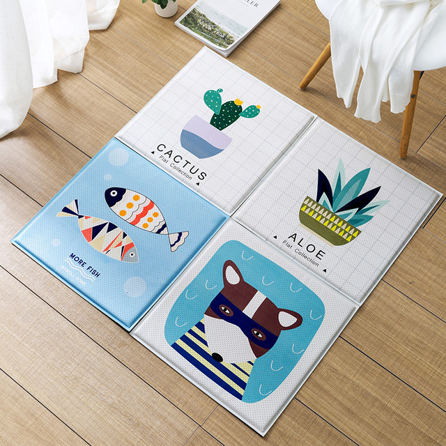 Winlife Lovely Cartoon Square Shaped Pu Surface Soft Rugs Kids Room Mat Non Silp Rug