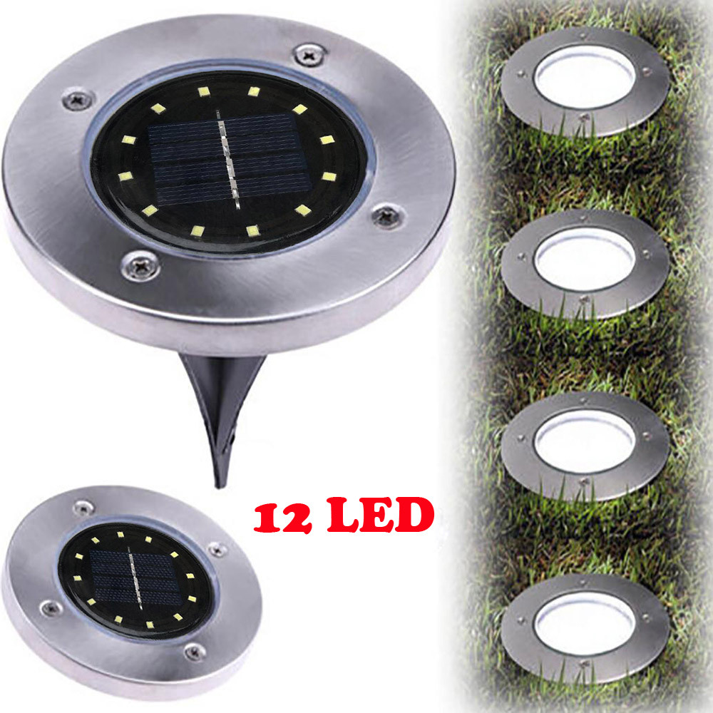 12-LED Solar Power Buried Light Under Ground Lamp Outdoor Path Way Garden Decking Terrace Lighting Lawn Lamp Grondspot