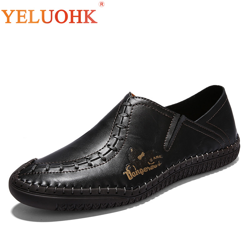 Handmade Leather Shoes Men Breathable High Quality Men Shoes Casual Slip On Men Leather Shoes 2017 new spring imported leather men s shoes white eather shoes breathable sneaker fashion men casual shoes