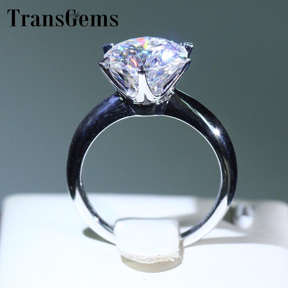 Transgems 14 k oro blanco 3 quilate diámetro 9mm F Color moissanite anillo de compromiso para mujeres solitara anillo de compromiso