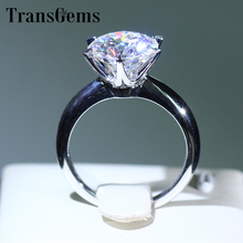 Transgems 14k White Gold 3 Carat Diameter 9mm F Color moissanite Engagement Ring For Women Solitare