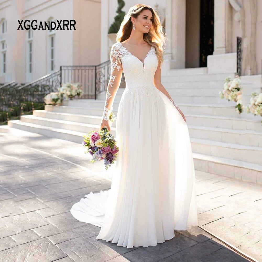 Sexy Vestido De Noiva 2019 Chiffon Long Sleeves Wedding Dress V Neck Backless Court Train Lace Bride Dress Plus Size Gelinlik
