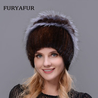 JERYAFUR Russian Real Natural Mink Hat Warm Double Female Mixed Color Fox Fur Hat Women Silver Double Velvet Luxury Winter Hat