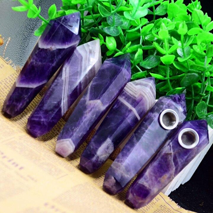 Trasporto di goccia sogno Ametista Cristallo Naturale Pipa + filtro pietra di quarzo guarigione wand Spedizione Gratuita X23