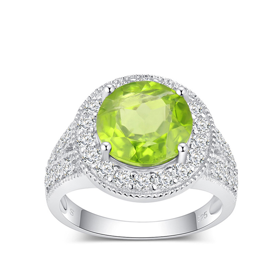PJC Natural Gemstone 3.73cts Round Manchurian Peridot With 0.94cts Round White Zircon 925 Sterling Silver Ring