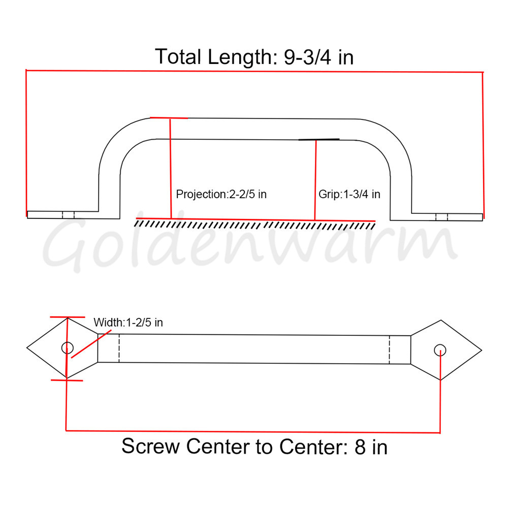 ٩(^‿^)۶Square Door Pulls Handles Goldenwarm LS03T3BK Solid Cast Iron ...