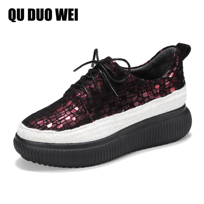 Brand Spring Women Platform Shoes Woman Soft Sheepskin Leather Creepers Lace Up Footwear Female Oxford Shoes For Women Sneakers n11 brand 2017 spring women platform shoes woman brogue patent leather flats lace up footwear female flat oxford shoes for women