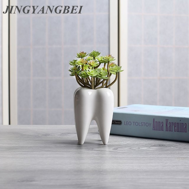 AliExpress & US $7.31 15% OFF|Tooth Shape White Ceramic Flower Pot Modern Design Planter Teeth Model Mini Desktop Pot Creative Gift-in Artificial Plants from Home ...