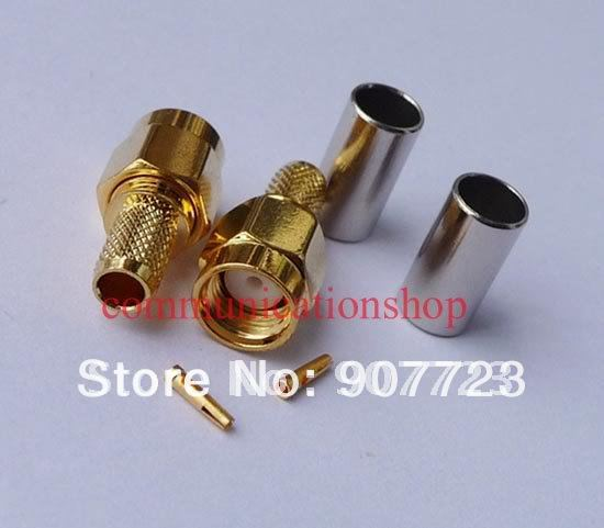 100pcs RP SMA Male RF Connector For RG58 LMR195 RG142 Cable