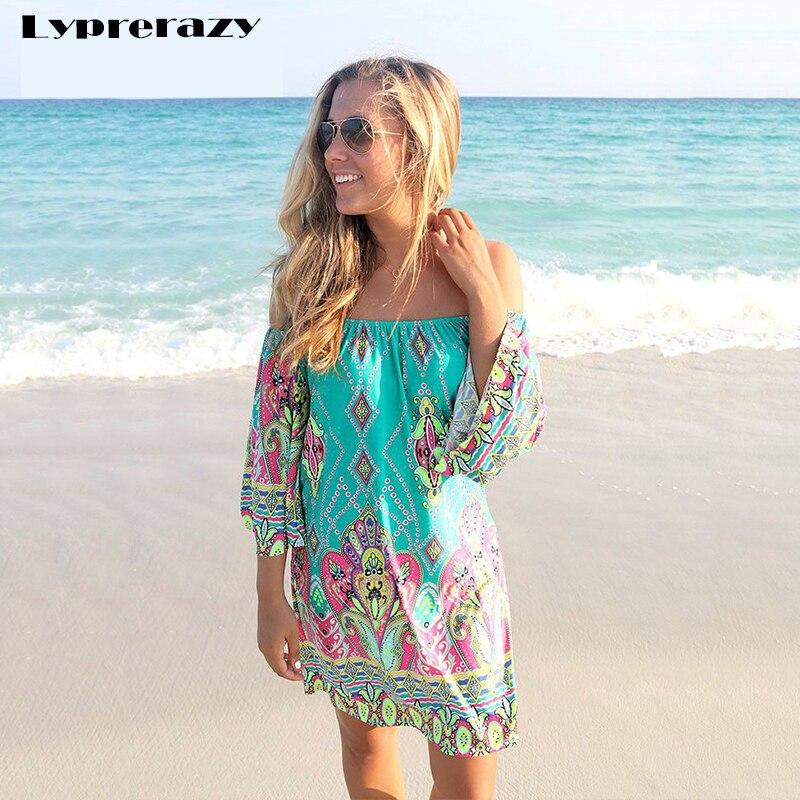 Buy Cheap Lyprerazy 2017 Summer beach Dress Fashion Bohemian Boho Flower Print Off Shoulder Womens Casual Vintage Women Plus Size Dresses