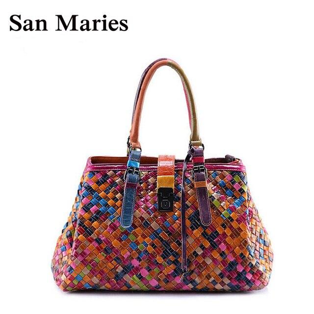 San Maries 100% Genuine Leather Bags Women Shoulder Bag Knitting Casual Tote  Designer Handbags High e2e20cca91a72