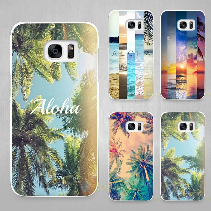aloha palm trees hard white coque shell case cover phone cases for samsung galaxy s4 s5 s6 s7. Black Bedroom Furniture Sets. Home Design Ideas