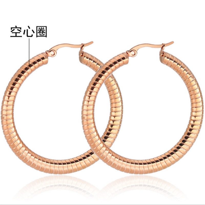 30mm New Rose Gold Silver Color Big Round Stud Earrings Exaggerated Stainless Steel Stud Earrings Fashion Jewelry wholesale in Stud Earrings from Jewelry Accessories