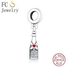 f8890e85b FC Jewelry Fit Original pandora Charm Bracelet 925 Sterling Silver Wine  Bottle Ribbon Love Heart Bead