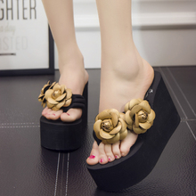 цена 11 Heel Height Handmade Women Sandals Fashion Flower Summer Sandals Wedges Flip Flops Platform Slippers Shoes в интернет-магазинах