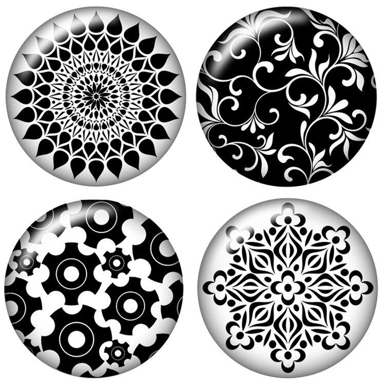 Модные Красота черные цветы узор 10 шт. 12 мм/18 мм/20 мм/25 мм круглый фото стекло кабошон демо плоской задней делая выводы ZB0462