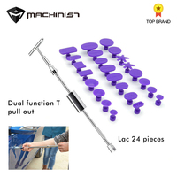 Car Paintless Dent Repair Tools kit high quality Dent removal Tools Auto body repair tool 2 in 1 T puller 24 pcs purple plastic