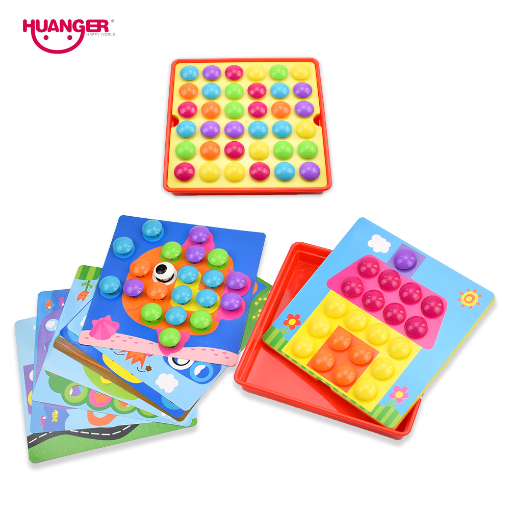 Huanger Baby 3d Mushroom Nail Art Button Puzzles Toys For Children