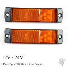 2 sztuk AOHEWEI 12 V 24 V LED bursztynowy znacznik boczny kontrolka pozycji led światło lampy znak światła dla przyczepy led światło tylne światła