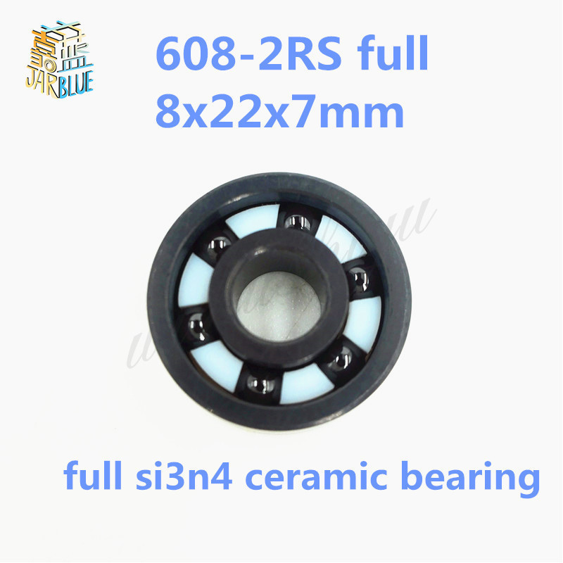 Free shipping 608-2RS full SI3N4 ceramic deep groove ball bearing 8x22x7mm full complent 608 2RS free shipping s608 2rs cb stainless steel 440c hybrid ceramic deep groove ball bearing 8x22x7mm 608