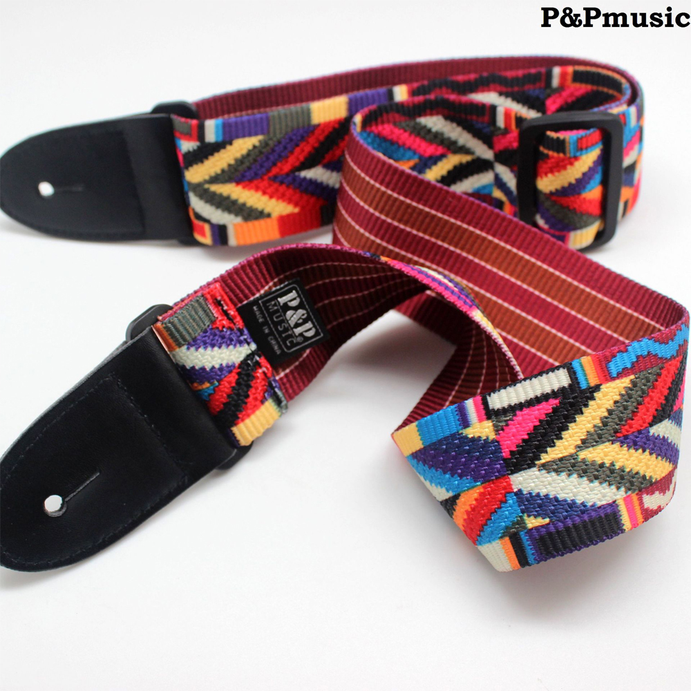 Rainbow Cotton Guitar Strap Electric Guitar Acoustic Guitar Folk Guitar Bass Ukulele Strap nylon knitting acoustic guitar strap leather head cotton electric guitar bass strap classical guitar belt strap polyester straps