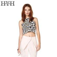 HYH HAOYIHUI Leopard Print Crop Tops Women Sleeveless Zipper Back Short Tank Sexy Street Slim Halter Camisole Ladies