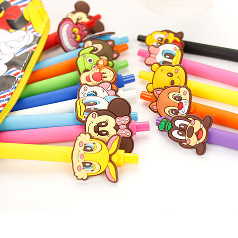 15 PCS Cute mickey Gel Pen Kawaii Gel Pen 0.5mm Black ink Candy color pens for Kid Gift escritorio Papelaria School Supplies 0 38mm cute kawaii cartoon plastic gel pen lovely candy color sunny doll pens for kids school supplies free shipping 2154