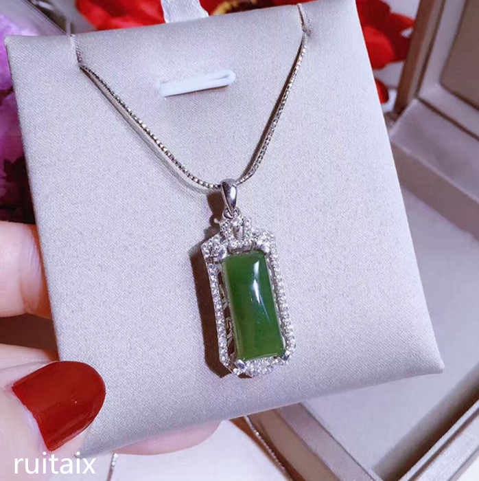 KJJEAXCMY boutique jewels S925 Pure silver inlay natural jade female style pendant + necklace classic square jewelry micro inla