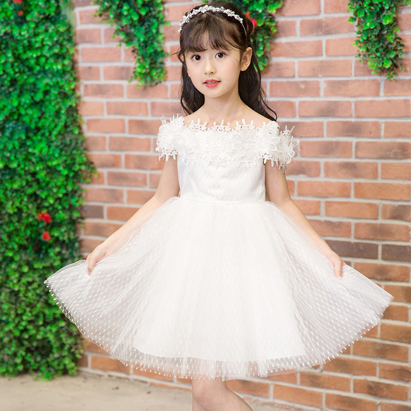 Wholesale 6pcs/lot Kids Girls Wedding Dress Shoulderless Lace Girls Birthday Party Dresses Children Princess Ball Gown Clothes