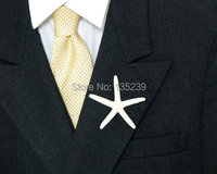 Starfish Boutonniere Shell Lapel Pin Beach Wedding Button Hole White Sea Nautical Men Men S Bridegroom