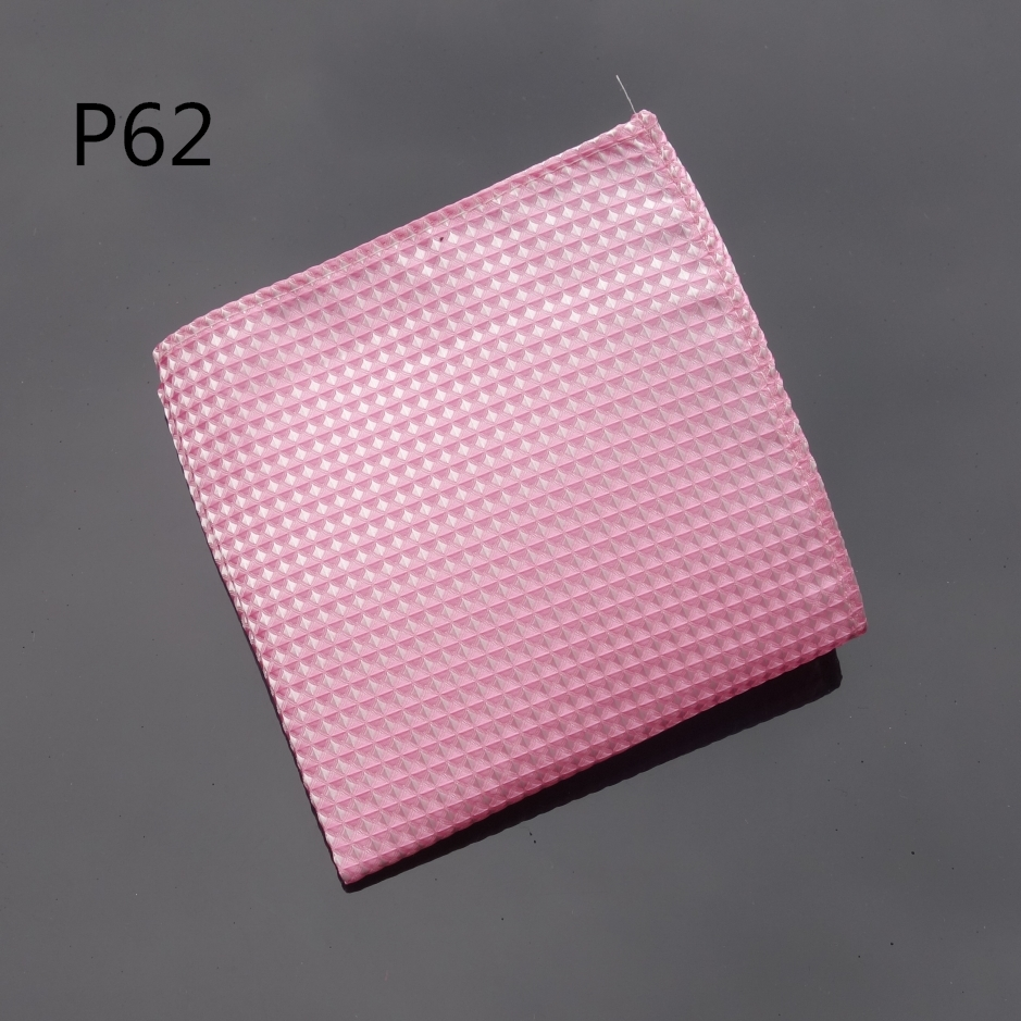 Ikepeibao Handkerchief Checked Pink Hankies Men Tie Jacquard Woven Pocket Square